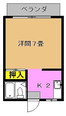 ゲーブルハウス (208号室 ユニットバスタイプ)間取り図