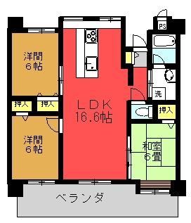 Ma.サンセヴェリア Bタイプ(3LDK)間取り図