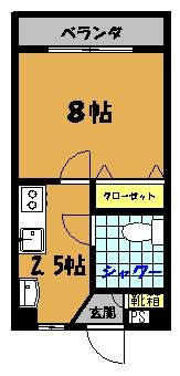 泉マンション(中部屋)間取り図