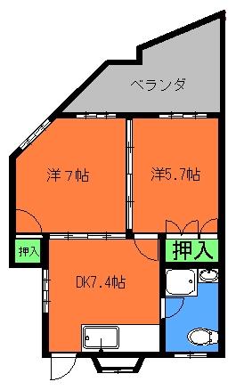 丸英ビル≪2DK≫間取り図
