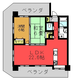 Ma.サンセヴェリア 1006号室(2LDK)間取り図