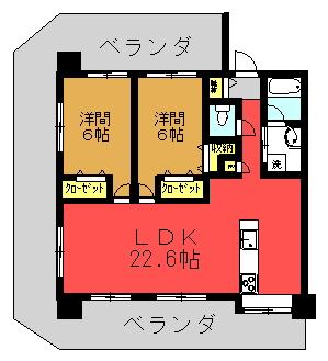 Ma.サンセヴェリア Dタイプ(2LDK)間取り図