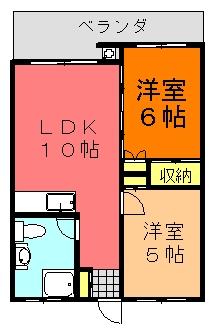 丸英ビルⅢ(2LDK;中部屋)間取り図