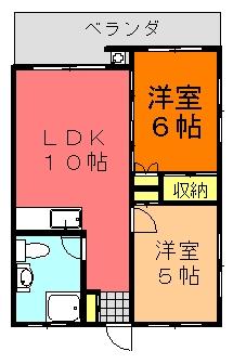 丸英ビルⅢ(2LDK;角部屋)間取り図
