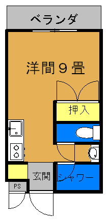 ペットマンションRan(1ルーム)間取り図