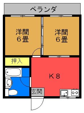 コーポ長田(オール洋間)間取り図
