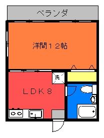 第3富島アパート(1LDKタイプ)間取り図