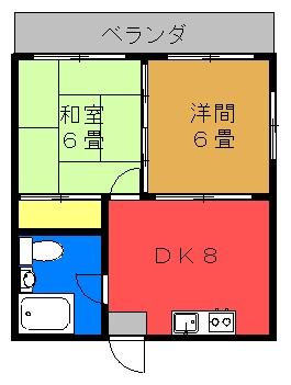 第3富島アパート(洋室タイプ)間取り図