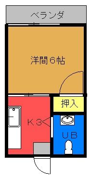 琉大東荘 新間取り図
