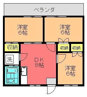 コーポ大里(3DK)間取り図