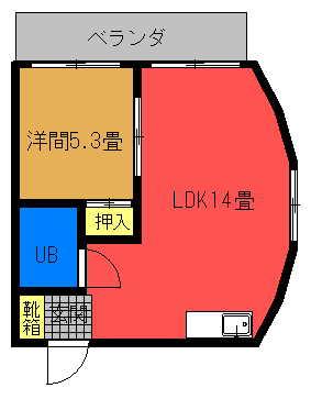 グリーンマンションⅡ 1LDK(1号室)間取り図