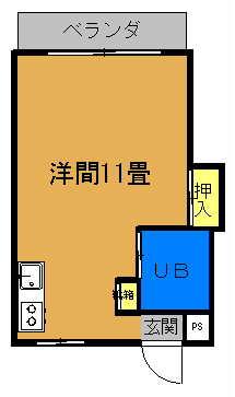 グリーンマンションⅡ 1ルーム(11畳)間取り図
