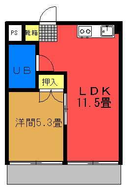 グリーンマンションⅡ 1LDK(2~5号室)間取り図