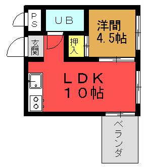 グリーンマンションⅡ 1LDK(7号室)間取り図