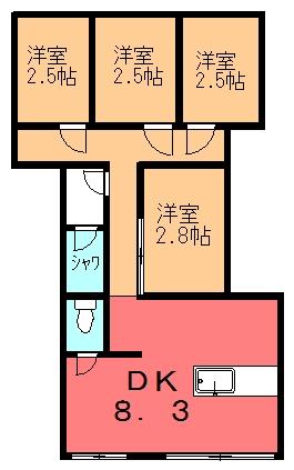 グリーンハウス C号室間取り図