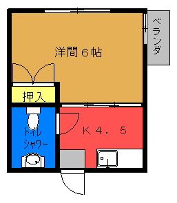 がくちょうビルB号室間取り図