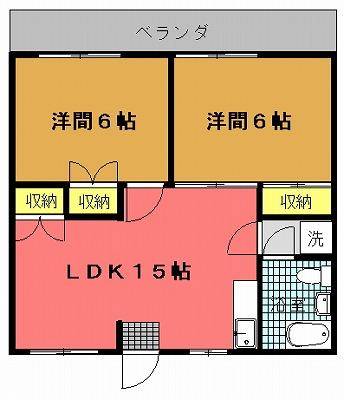 コーポ大里(611号室)間取り図